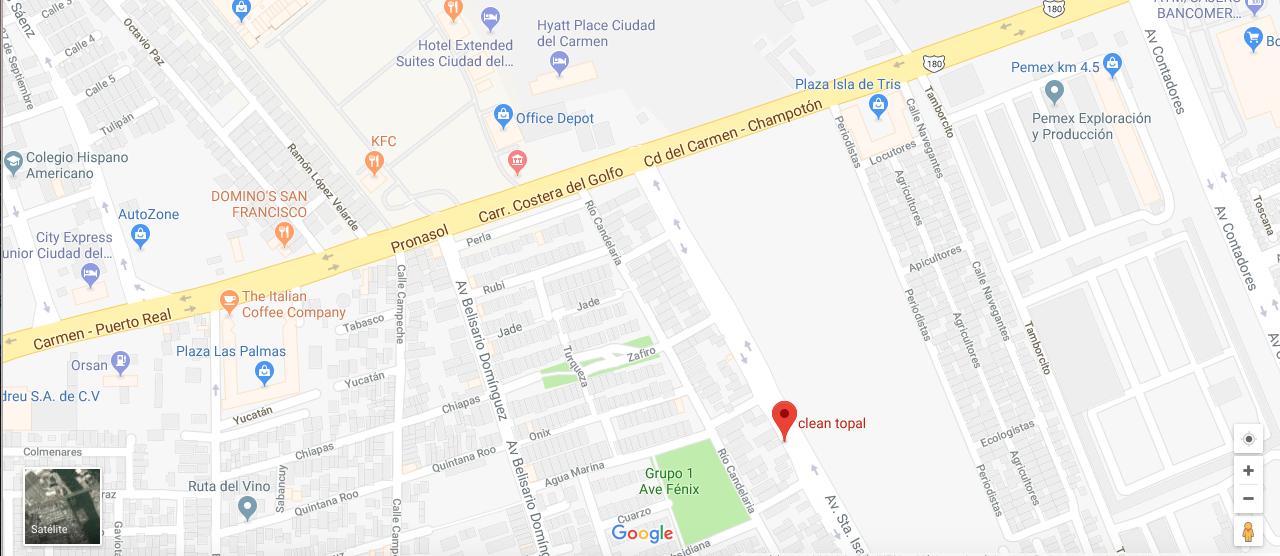imagen de la ubicación de clean topal